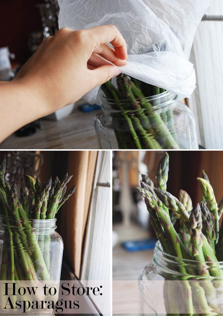28 Food Storage Hacks - Store asparagus like fresh cut roses.