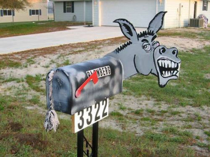 28 Unique Mailboxes That Are So Funny - Pull the tail on the donkey to get your mail, I dare you!