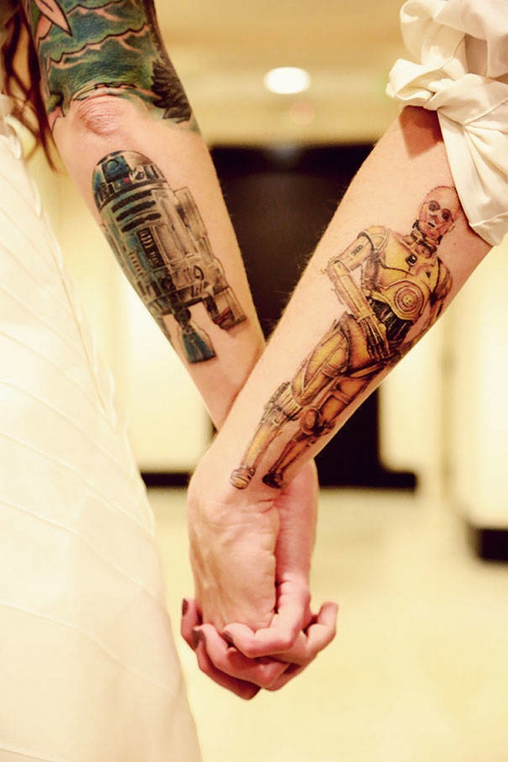 35 couple tattoos - Star Wars couple tattoos.