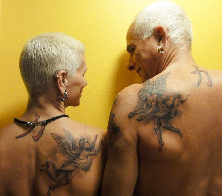 35 couple tattoos - Heaven couple tattoos.