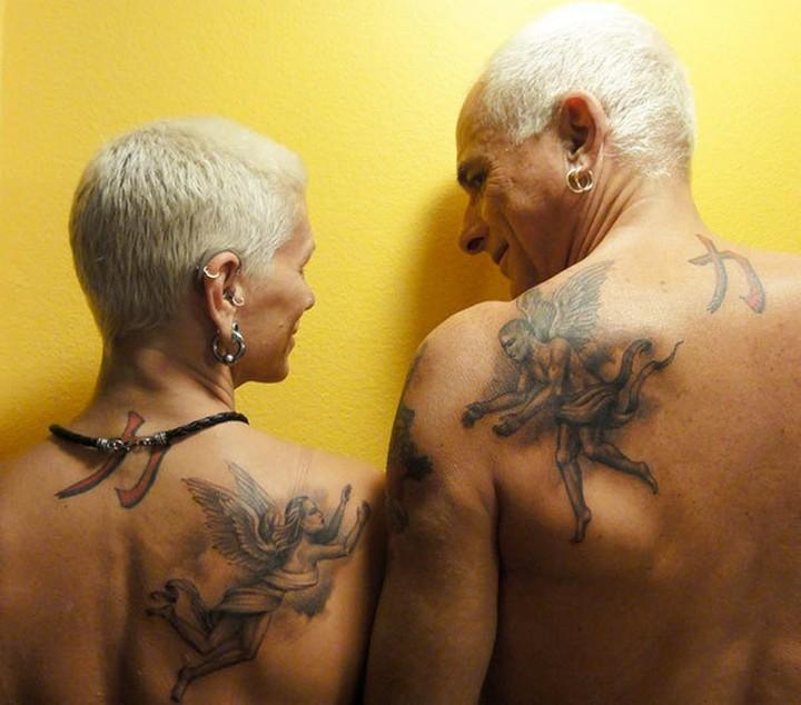 35 couple tattoos - Heaven couple tattoos.