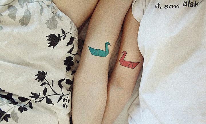 35 couple tattoos - Origami birds couple tattoos