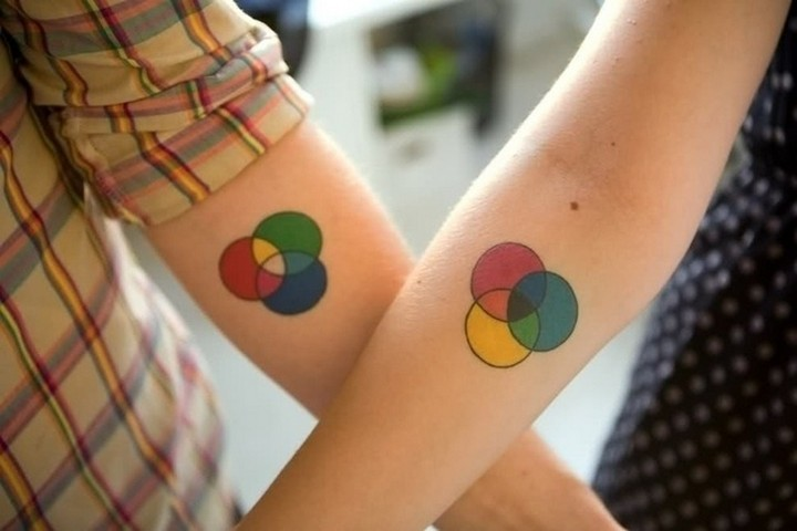 35 couple tattoos - Colors couple tattoos.