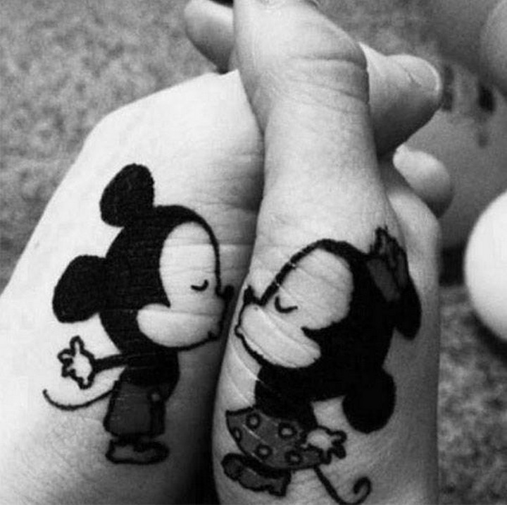35 couple tattoos - Mice kissing couple tattoos.