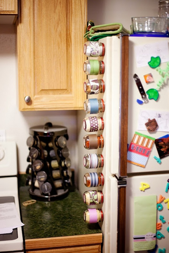 46 Useful Storage Ideas - Store your spices on the fridge using baby jars with magnetic lids.