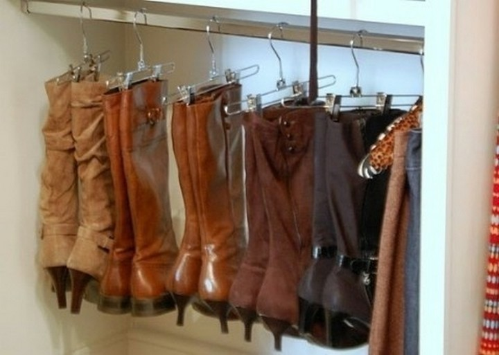 46 Useful Storage Ideas - Use garment hangers to organize your boots.