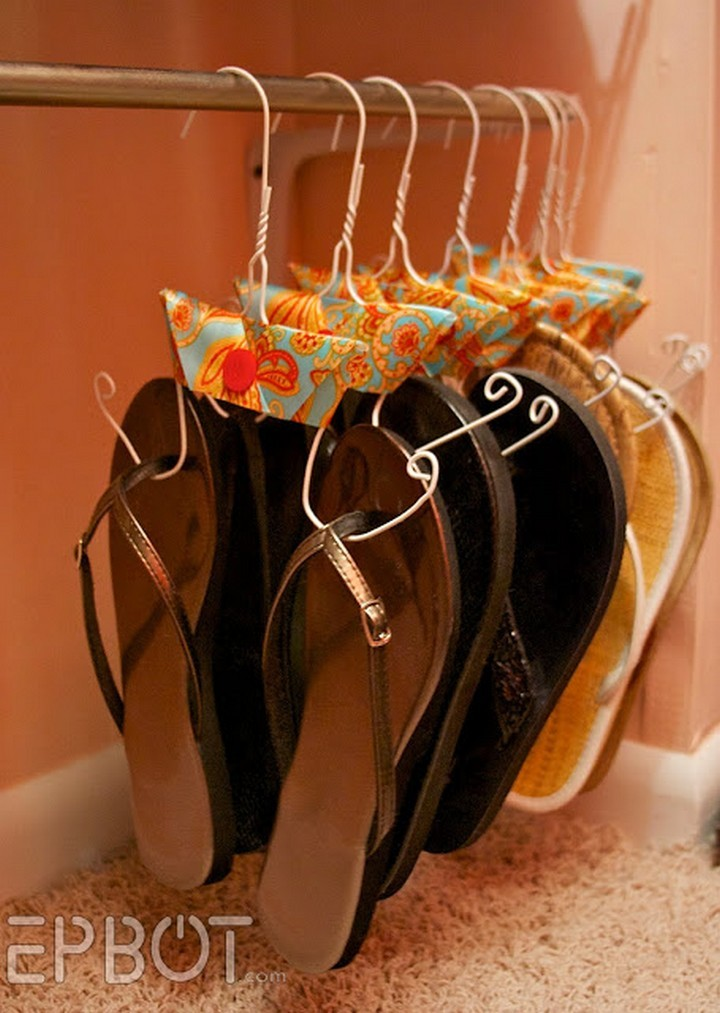 46 Useful Storage Ideas - Store all your flip-flops using DIY hangers.