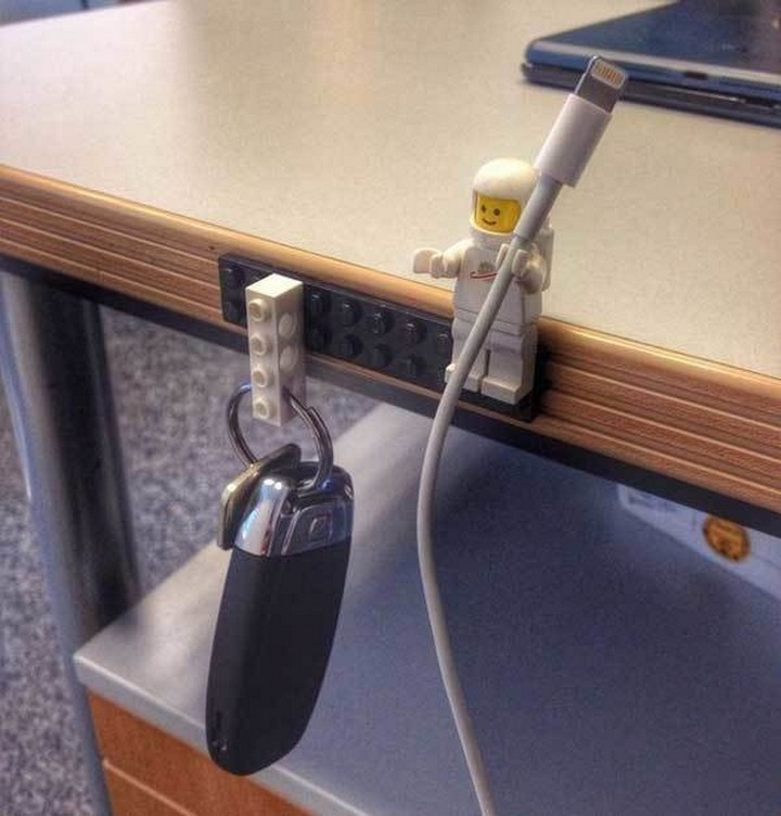46 Useful Storage Ideas - Create a LEGO key and charging cable holder.
