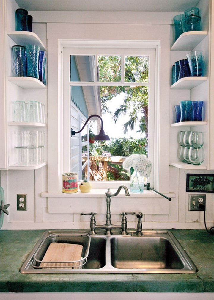 46 Useful Storage Ideas - If you have open areas in your kitchen, install shelves to display your glasses.