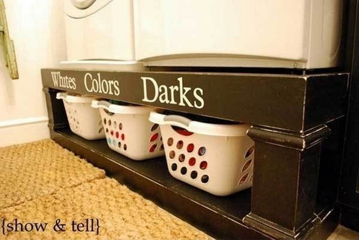 46 Useful Storage Ideas - Put your washer and dryer on a shelf and store laundry baskets underneath.