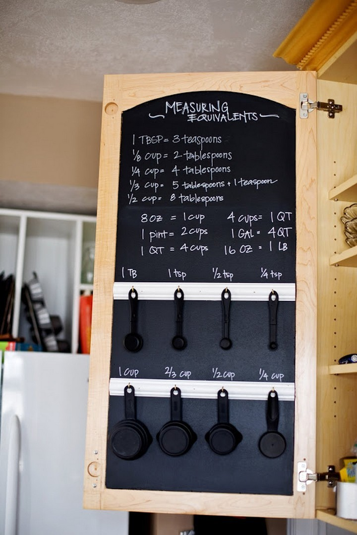 46 Useful Storage Ideas - Paint your inner cabinet door with chalkboard paint and install hooks to measuring cups and spoons.