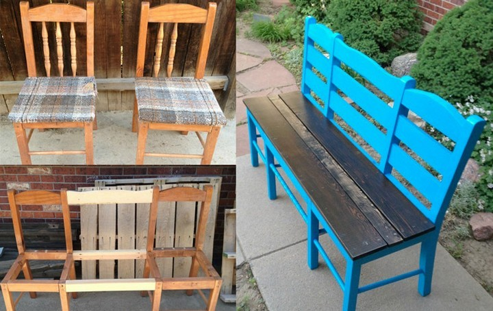 Take two old chairs to create this modern bench.