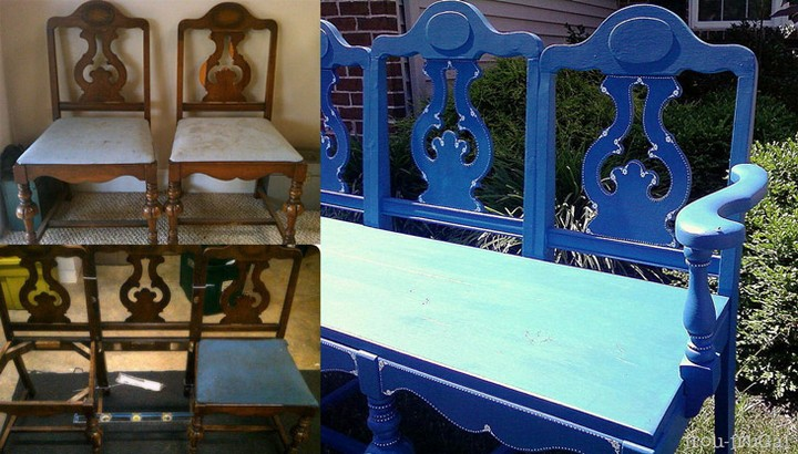 diy projects to turn old chairs into gorgeous one of a kind benches