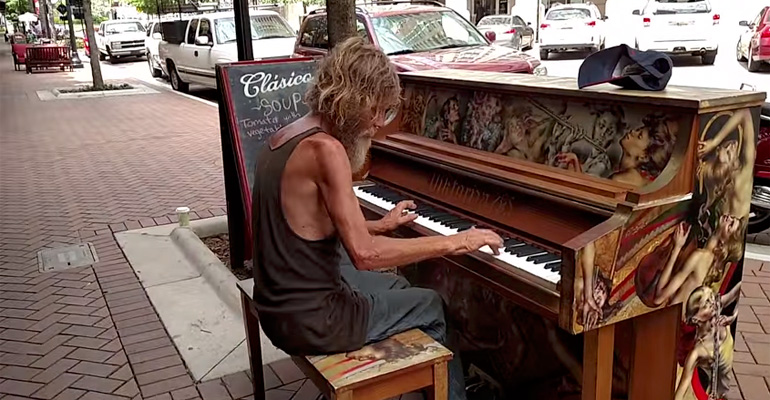 A Homeless Man Sits at a Piano and Pedestrians Couldn't Believe What They Were Hearing