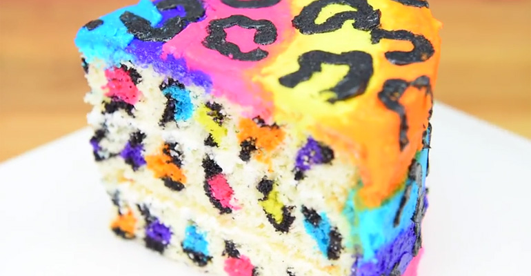 Rainbow Leopard Cake - Learn How With This Video Recipe.