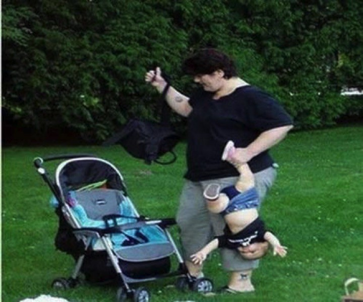 34 Parenting Fails - Is she trying to make him do the handstand?