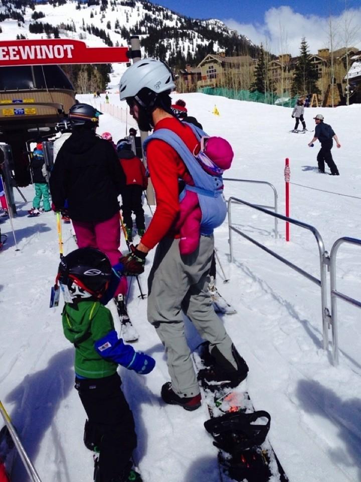 34 Parenting Fails - Extreme snowboarding dad.
