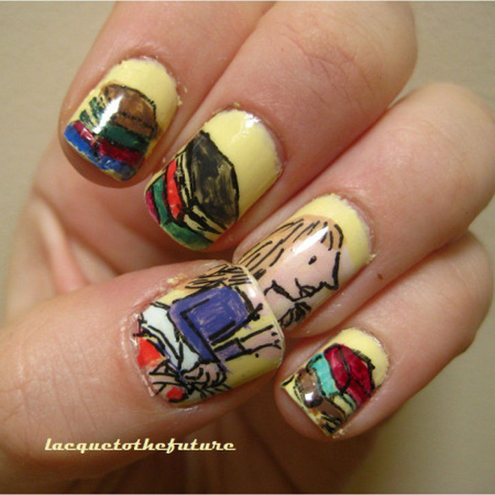 13 Book-Inspired Nail Art Designs - Matilda by Roald Dahl