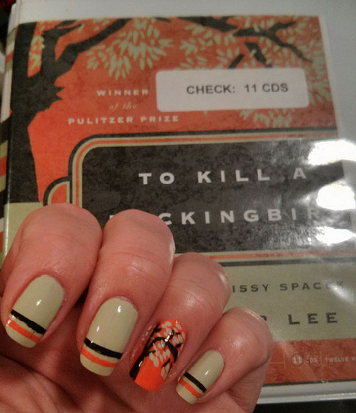 13 Book-Inspired Nail Art Designs - To Kill a Mockingbird by Harper Lee
