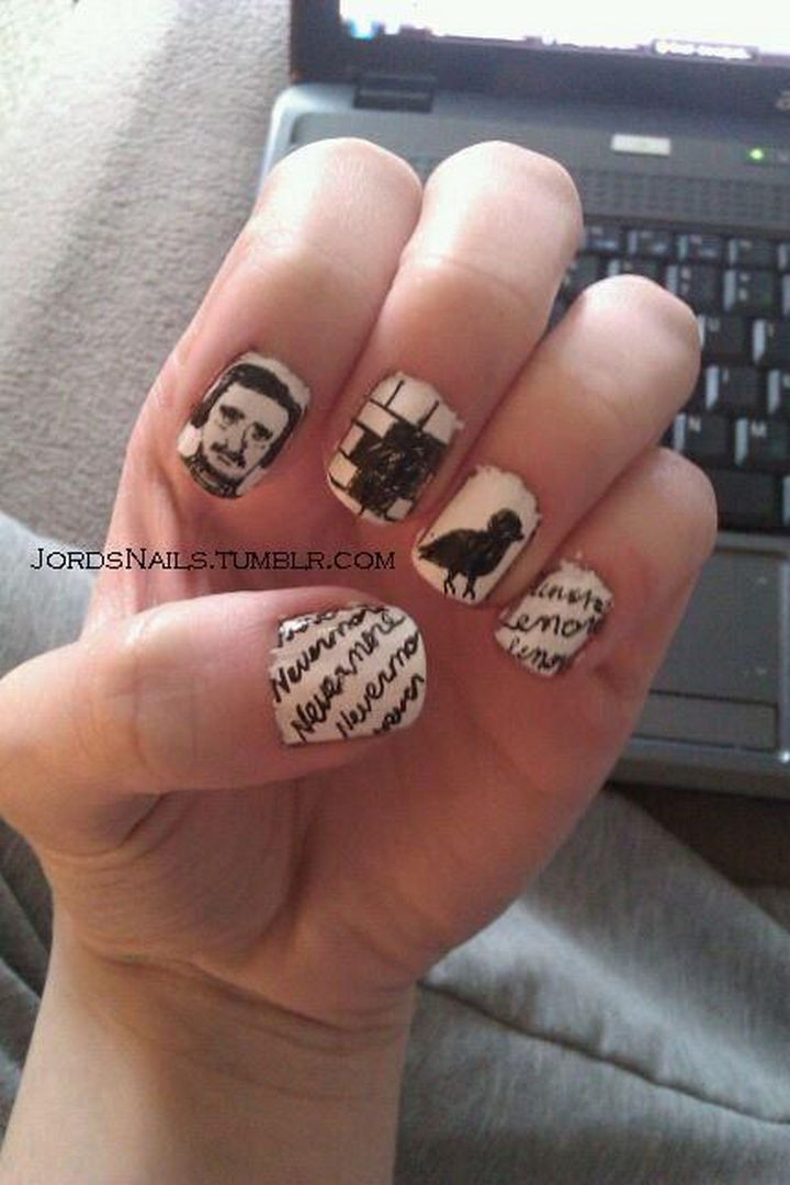 13 Book-Inspired Nail Art Designs - The Raven by Edgar Allan Poe