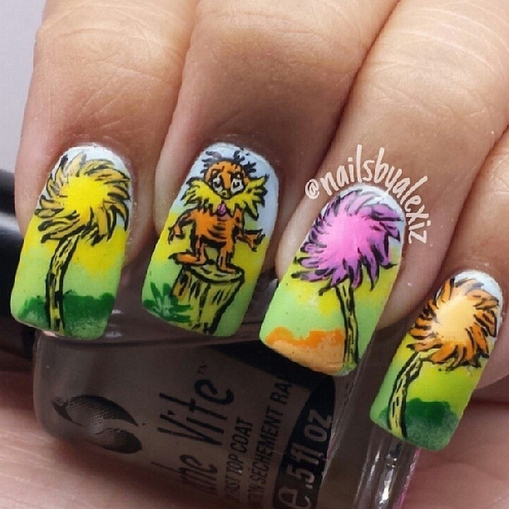 13 Book-Inspired Nail Art Designs - Another classic, The Lorax by Dr. Seuss