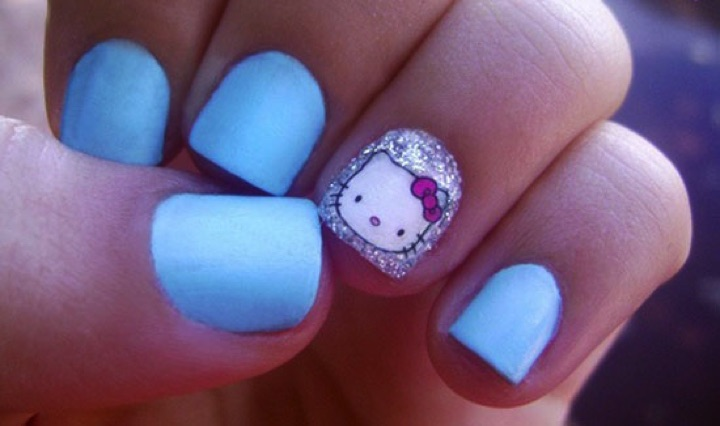 14 hello kitty nails and nail art that are simply too adorable 14 hello kitty nails stylish blue hello kitty nails prinsesfo Gallery