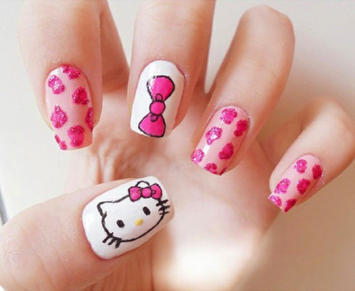 14 Hello Kitty Nails - Easy Hello Kitty nail art design.