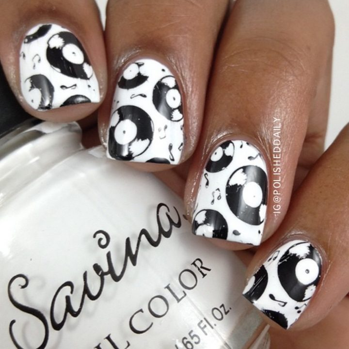 18 Music Nails - Kickin' it old school with vinyl.