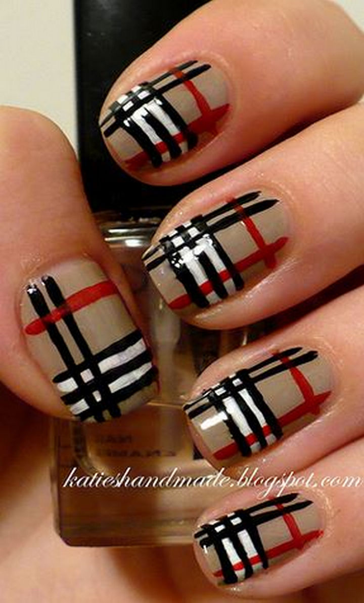 18 nail tape striped diy nail designs that are easy to create 18 striped diy nail designs burberry lines prinsesfo Image collections