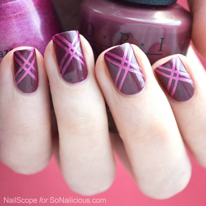 18 Striped DIY Nail Designs - Show off the Pantone color of 2015, Marsala. - 18 Nail Tape Striped DIY Nail Designs That Are Easy To Create