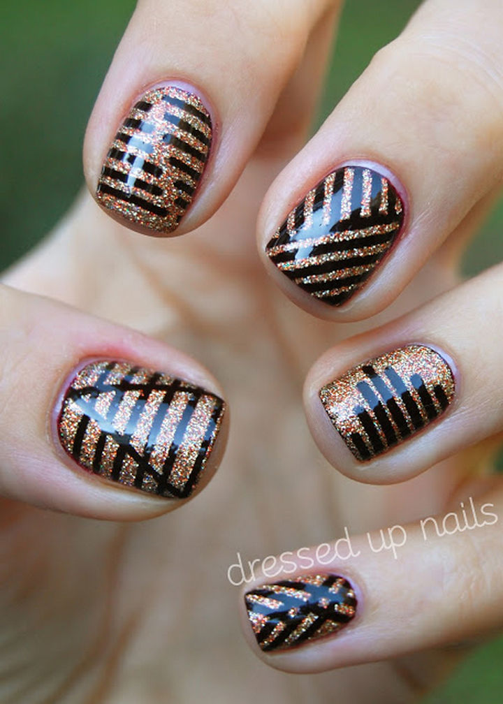 18 Striped DIY Nail Designs - Sharp dressed nails. - 18 Nail Tape Striped DIY Nail Designs That Are Easy To Create