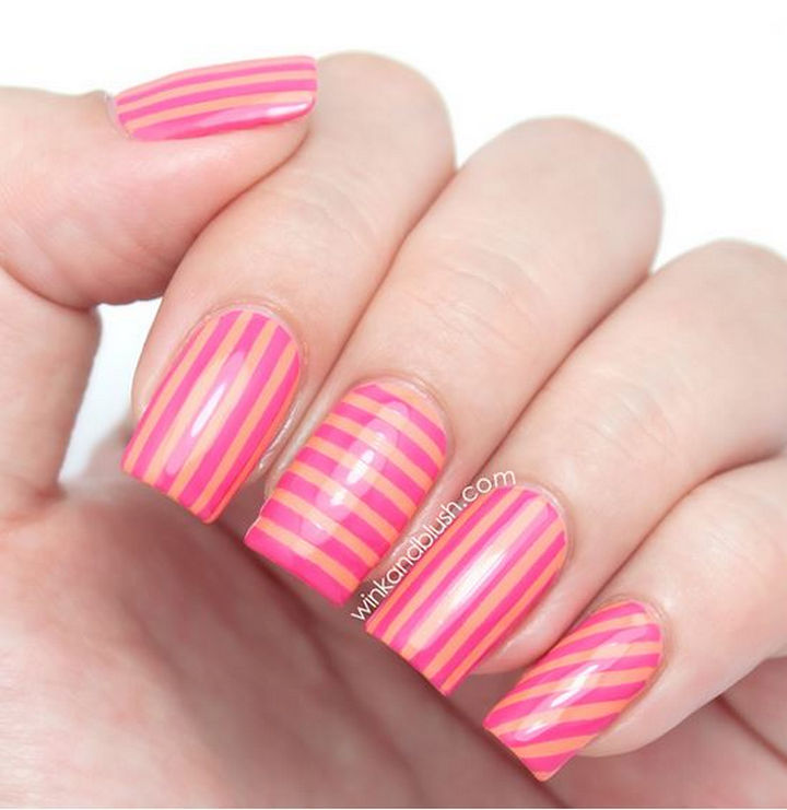18 Striped DIY Nail Designs - Stripes in every direction! - 18 Nail Tape Striped DIY Nail Designs That Are Easy To Create