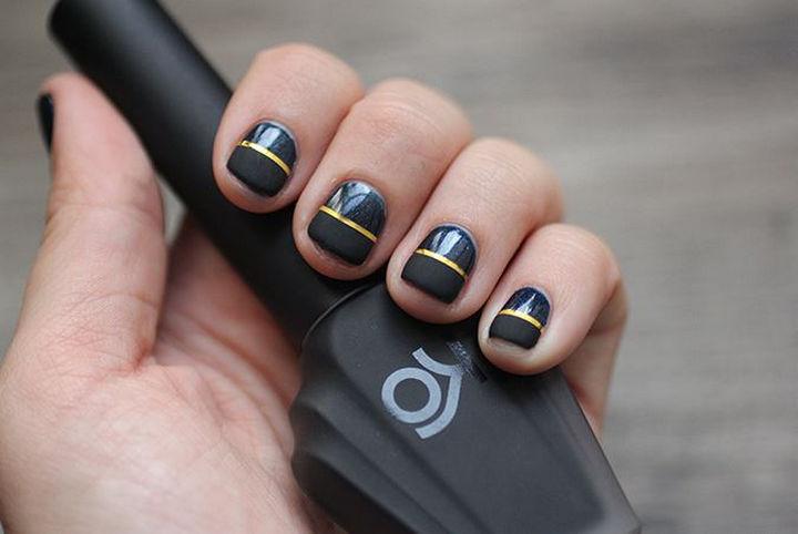 18 Striped DIY Nail Designs - Stunning half matte nails. - 18 Nail Tape Striped DIY Nail Designs That Are Easy To Create