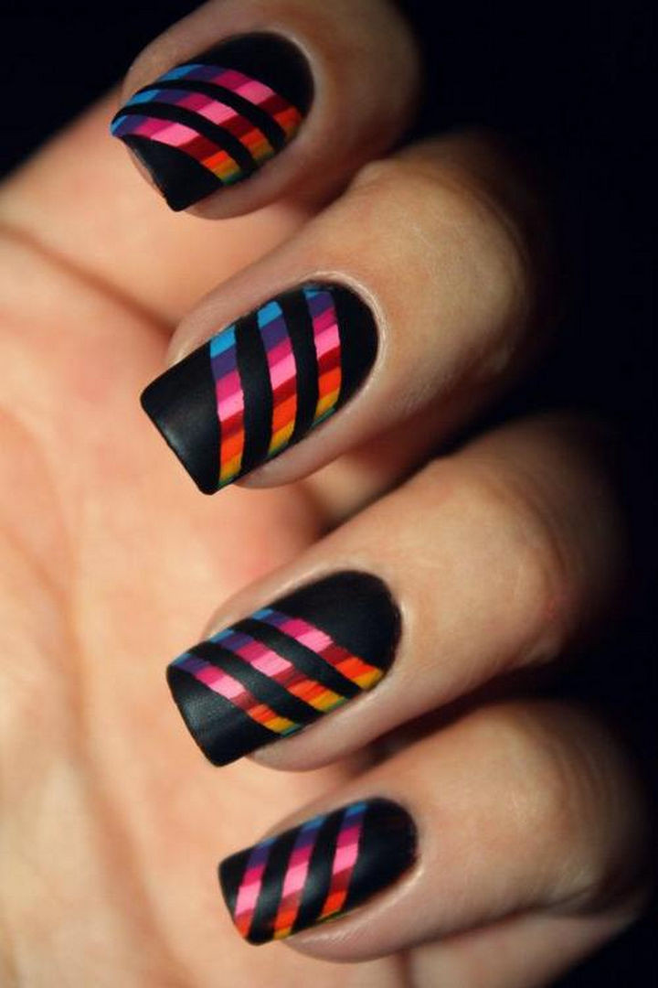 18 Striped DIY Nail Designs - All of the colors of the rainbow. - 18 Nail Tape Striped Nails DIY Designs That Are Easy To Create