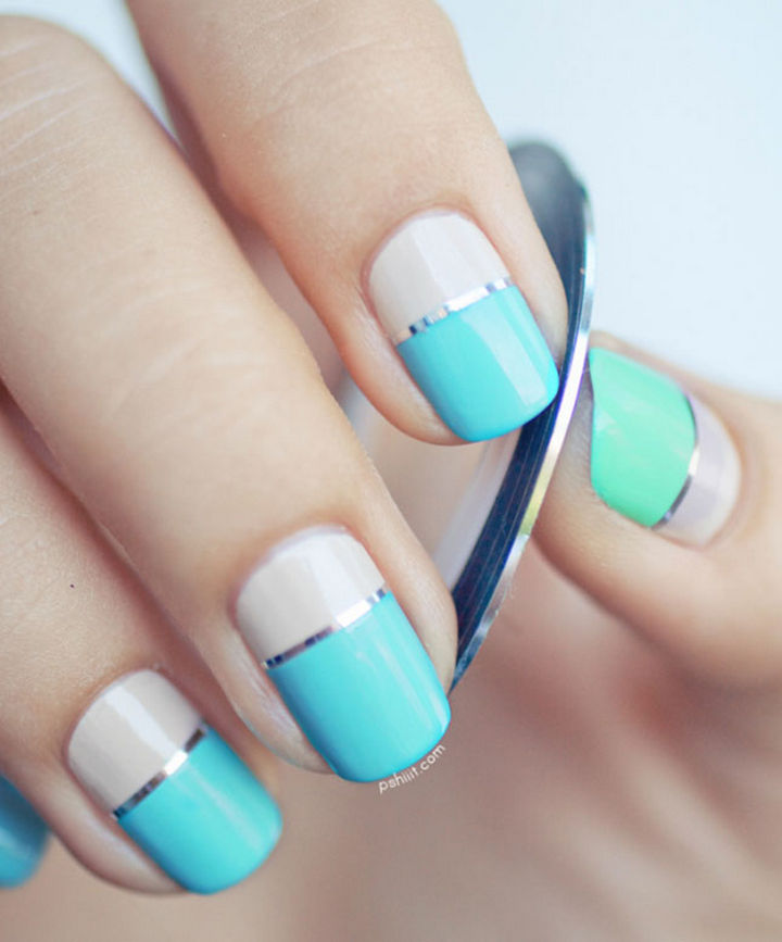 18 Striped DIY Nail Designs - Color block striped nails. - 18 Nail Tape Striped DIY Nail Designs That Are Easy To Create