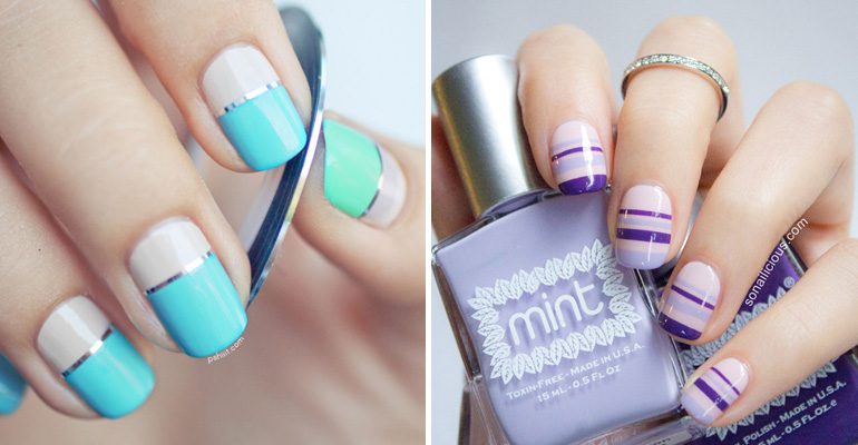 18 Nail Tape Striped DIY Nail Designs That Are Easy to Create.