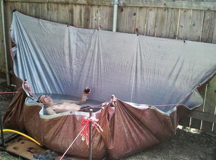 25 Funny DIY Pools - Turn a tent into a pool.