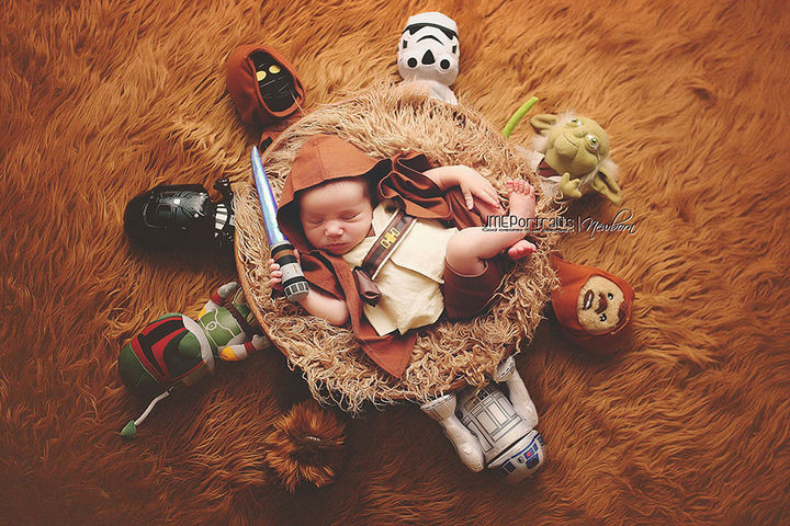 37 Newborns Wearing Geek Baby Clothes - Baby Luke Skywalker and the Star Wars Universe.