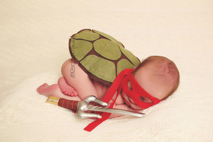 37 Newborns Wearing Geek Baby Clothes - Baby Teenage Mutant Ninja Turtle.