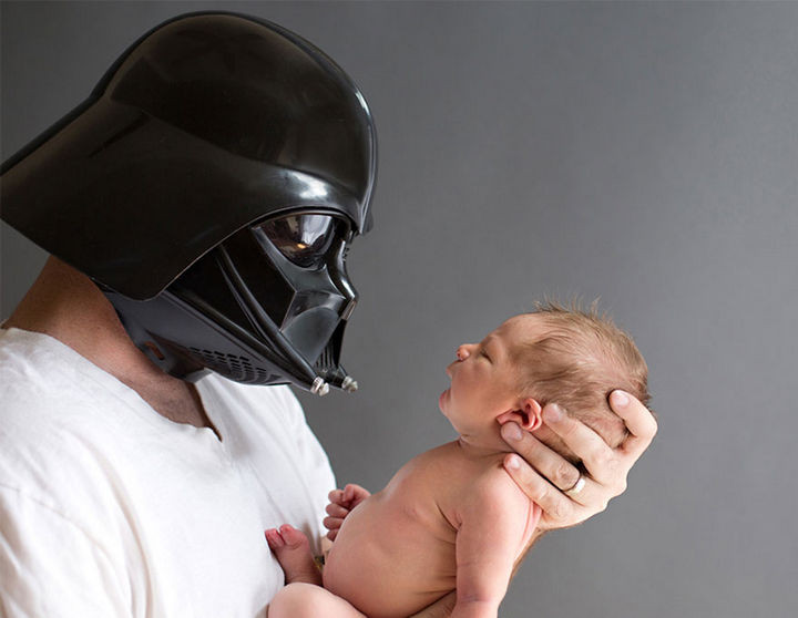 "37 Newborns Wearing Geek Baby Clothes - ""Little one, I am your father."""
