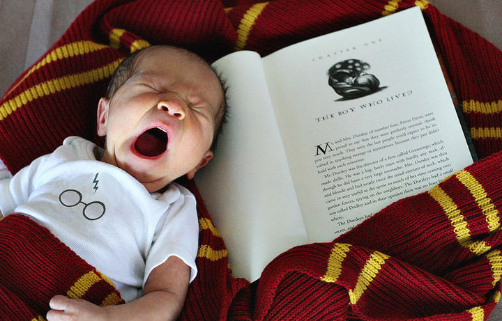 37 Newborns Wearing Geek Baby Clothes - Baby Harry Potter.