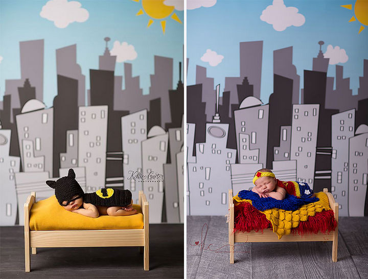 37 Newborns Wearing Geek Baby Clothes - Baby Batman and Baby Wonder Woman.