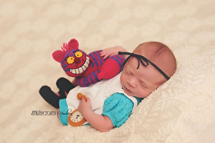 37 Newborns Wearing Geek Baby Clothes - Baby Alice in Wonderland.