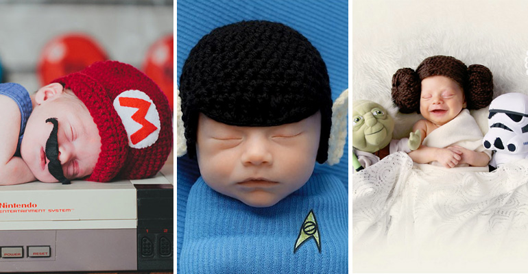 37 Newborns Wearing Geek Baby Clothes. Geeky is Cute.