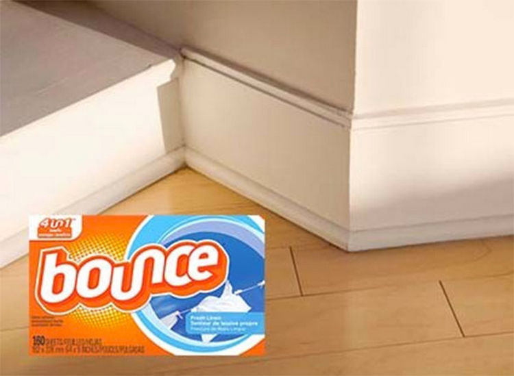 47 Amazing Life Hacks - Dryer Sheets - They help repel dust so use them to wipe your baseboards or even your floors!