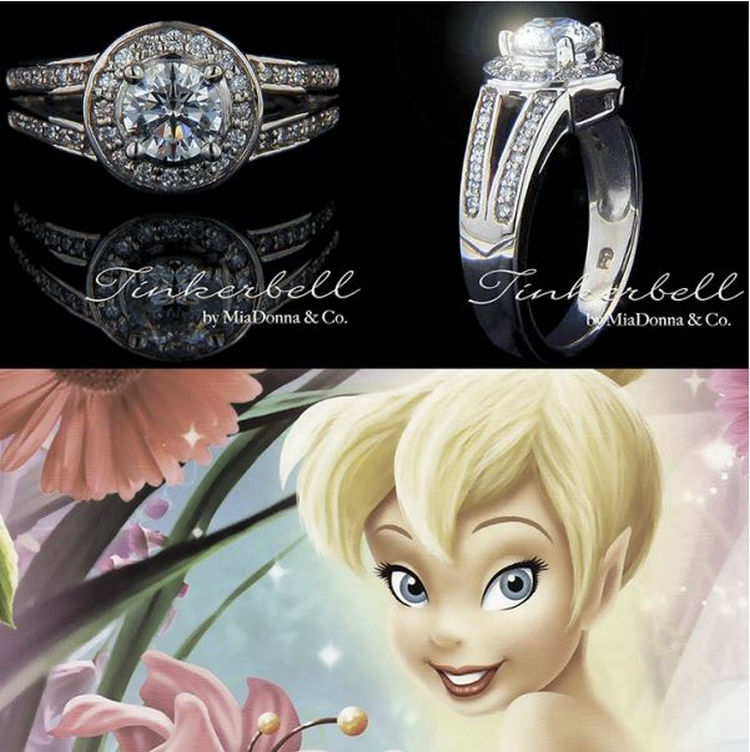 gallery of tinker bell disney princess engagement rings with princess tiana wedding ring - Disney Inspired Wedding Rings