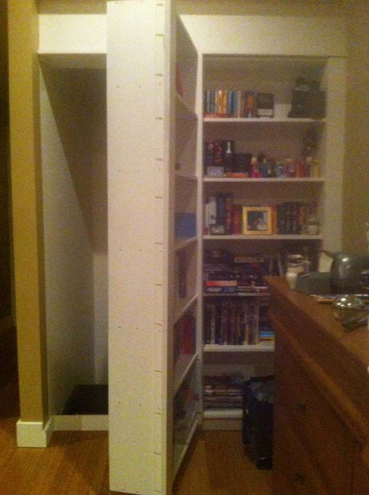 The two boys were messing around in their parent's room and one of them pushed the other into the bookshelf. One portion of the bookshelf dislodged itself and revealed an opening.