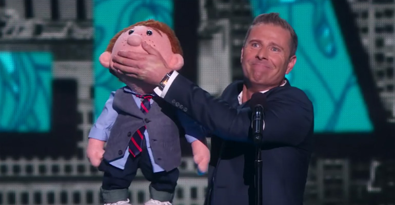 Paul Zerdin's Puppet Sam Still Talks After He Walks Off Stage.