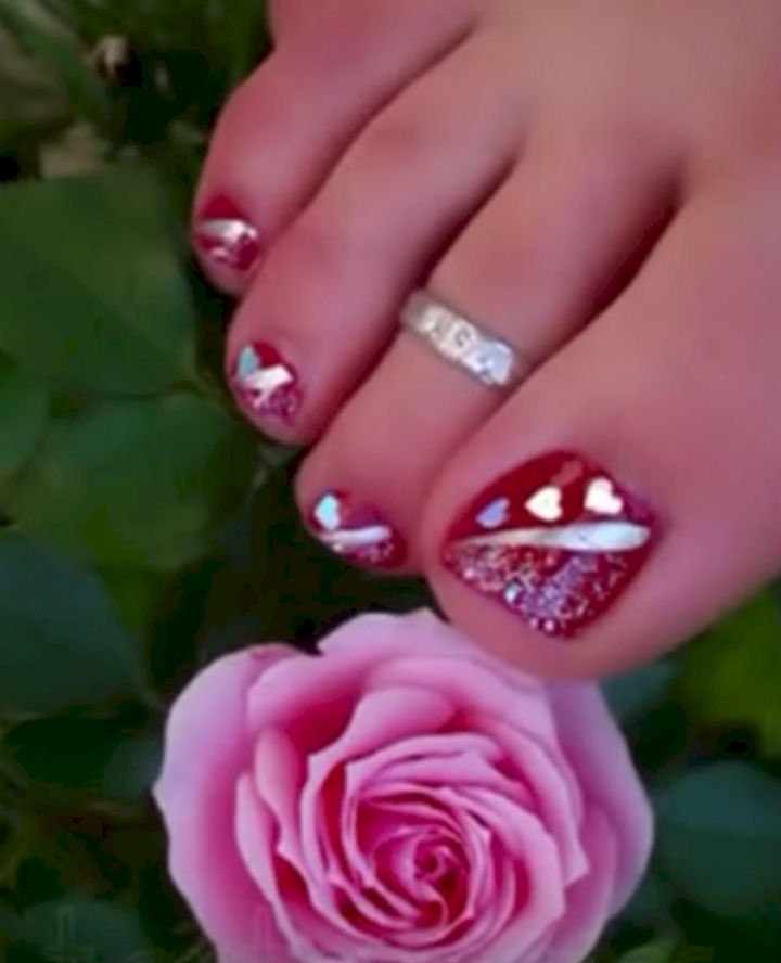 13 Pedicure Designs - A striking nail design with love.