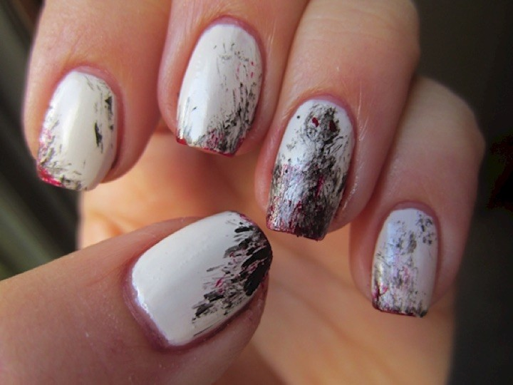 13 Black and White Nails - Paint strokes on a blank white canvas.